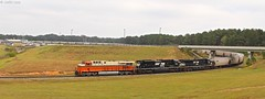 Met up with a friend to go looking for some of the Georgia short lines and to start the day off we stopped to see what was 54E when it came in to unload and left as a 51N. This would be an upgraded shot of the Interstate heritage for me so ill take it. (MrRailfan) Tags: ns 54e 51n grain freight ge emd norfolk southern heritage interstate rr railroad train