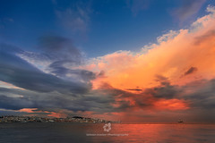 Lisbon Skyline (fesign) Tags: bayofwater capitalcities coastline colourimage famousplace horizontal lisbon locallandmark lookingatview outdoors panoramic photography portugal river rivertagus sky sunset traditionallyportuguese vacations water waterfront clouds
