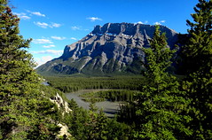 Bow River Valley (Stefan Jrgensen) Tags: hoodoo bowriver sony dsctx20 tx20 canada 2013 canadianrockies mountrundle banff alberta valley mountain trees bluesky clouds river water forest hoodoos bowrivervalley mountrundlerange mountains