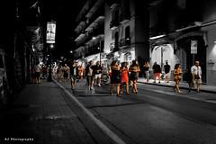Sorrento Nightlife (SteveJ442) Tags: sorrento italy street people night nightlife spotcolor spotcolour selectivecolor selectivecolour blackandwhite blackwhite bw crowd creative artistic nikon