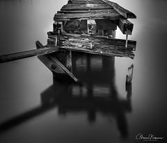 Baltimore Industrial Abandoned Pier BW (mdnoga) Tags: us baltimore long exposure pier black white nikon nikond810 marine reflection