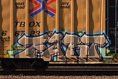 FART (TheGraffitiHunters) Tags: graffiti graff spray paint street art colorful freight train tracks benching benched fart boxcar