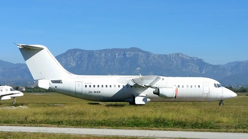 British Aerospace 146-300 c/n E3203 Albanian Airlines registration ZA-MAN stored at Tirana Airport, Albania