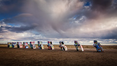 Cadillac Ranch (Calpastor) Tags: landscape texas amarillo cadillac old route66 clouds sunset historic odd