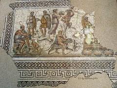 Mosaco del Don del Vino. cija (Sevilla) (lameato feliz) Tags: mosaico cija sevilla mosaacodeldondelvino baco vino