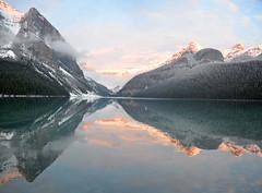 Sun Setting_Lake Louise_DSC_2500_stitch_2_D (renrut01) Tags: lake louise colours alberta canada popular water reflections sunset clouds snow