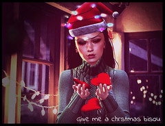 Give me a christmas bisou (blacksunBarbosa) Tags: blacksunbarbosa flashlight emotions christmas kiss hearts lights night second life photoshop bisou