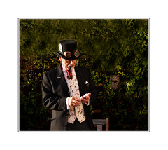 self portrait, my first Steampunk costume. (raymondstewart1) Tags: steampunk costume outfit fantasy escapism portrait pose posing posed man male tophat selfie selfportrait