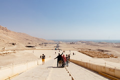 View from Hatshepsut Temple to Luxor and the Nile valley (Egypt) (Steffen Kamprath) Tags: architecture decayed desert documentary hulk luxor people religion sight sky sonya77 temple travel alwadialdschadid ägypten history ruin tamronspaf1750mmf28xrdiii slt dslr apsc amount zoomlens bygonetimes olddays ancient lostcivilization attraction spot landmark tourism traveldestination travelphotography traveling vacation africa afrika afrique áfrica egypt egipto egypte egito