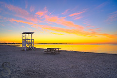 ready for the day (Singing With Light) Tags: summer moon sunrise photography fisherman sony kitlens ct august lifeguard milford silversands 6th lifeguardtower 2015 mirrorless sony16mm28 singingwithlight singingwithlightphotography forttrumbullbeach alpha6000 sonya6000