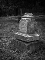 Bachelor's Grove Headstone (Vail Marston) Tags: blackandwhite monochrome cemetery grave stone illinois meetup stonework headstone cook midlothian bachelorsgrove 2015 chicagolandurbexphotography
