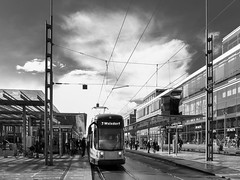 Tram Line 7 (ThomasKrannich) Tags: blackandwhite bw public monochrome dresden open place transport 7 tram location line hauptbahnhof seven iv ricoh vantagepoint dvb grd linie7 weixdorf strasenbahn