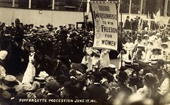 Christabel Pankhurst in a suffragette procession, 1911.