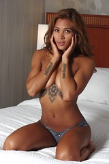 Topless in Panties (lilbitrisque) Tags: cute sexy beautiful tattoo panties pose athletic bed model bedroom breasts tits legs boobs modeling gorgeous tan posing stomach lingerie tattoos thighs barefoot lovely toned victoriassecret mixedrace sexiness 20something nobra implied handbra braless impliednude