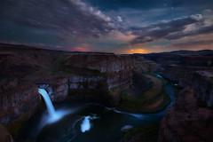 Dark Falls (circleyq) Tags: cloud fall night dark landscape star waterfall washington long exposure palouse