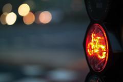 traffic (Jan Jacob Trip) Tags: light red orange black car bike bicycle yellow night headlight crosswalks leiderdorp