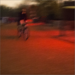 Lights had turned red that night (Luc B - PhLB) Tags: street blur bicycle dark glow nightshot eindhoven motionblur icm unsharp bewogen 2015 onscherp