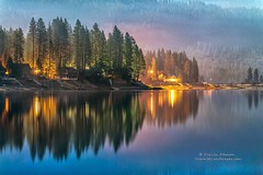 2014-12-08_04-58-29 (kperara) Tags: christmas sunset moon lake mountains misty fog clouds reflections evening glow market smoke nevada shoreline sierra resort shore drought moonlight basslake darvin darv lynneal yosemitelandscapescom