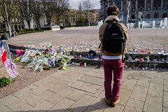Lille, France (Vadim Gouida) Tags: france lille nordpasdecalais memorial flowers street shooting outdoor makeshiftmemorial november2015 parisshooting candlelightvigil candlelitvigils memory candel terrorism city parisattacks pavement solidarity