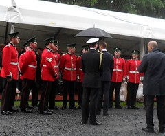 Prince Willam greeting ceremonial soldiers  (in the rain) at Somme Commemorations Thiepval 1st July 2016 (~ l i t t l e F I R E ~) Tags: somme 1916 2016 theipval commemorations cameron holland princecharles prinewilliam poppy red memorial arch cornflower sailor soldier ceremonial grave headstone candid cap french english british booklet wreath invite guest chair white screen rubbing names list death dead lost wat worldwari wwi ww1 littlefire somme100