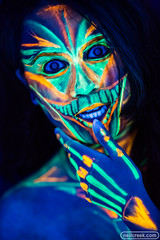 Jenna Blacklight Face Art (neilcreek) Tags: blacklight uv glow dark black blue green colour color model girl beautiful portrait skin face makeup skull creepy scary halloween