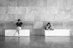 Long day (fernando_gm) Tags: blackandwhite blancoynegro bw fujifilm fuji museo museum spain monochrome monocromo monocromatico people person persona gente man child hombre nio xt1 1024mm break descanso sentado sit bilbao street
