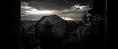 Paradoxe (LoKee Photo) Tags: loneliness lo kee low key black white paris sunset rain umbrella see throught fuji x100s
