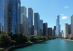 Chicago, Chicago River Cityscape between Columbus Avenue and Lake Shore Drive (Mary Warren (7.4+ Million Views)) Tags: chicago chicagoriver architecture buildings city urban skyline cityscape skyscrapers highrise riverwalk