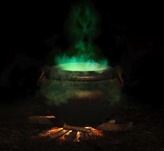 conjured (innocent0081) Tags: cauldron witch brew bubbling boiling evil spirit occult conjur sorcery sorcerer devil demon halloween wicken demonic trickortreat spell pot fire forest