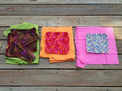 Three future granny square bags with their respective linings (crochetbug13) Tags: crochet crocheted crocheting grannysquare squares purse tote diy