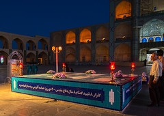 Ayatollah khomeini memorial in front of the three-storey takieh part of the amir chakhmaq complex, Yazd province, Yazd, Iran (Eric Lafforgue) Tags: amirchakhmaqcomplex architectural architecture attraction ayatollah building chakhmagh chakmak chakmaq chaqmagh city colorimage copyspace horizontal hosseinieh illuminated incidentalpeople iran iranian islam khomeini middleeast minaret minarets mosque night outdoors people persia religion shia shiite takieh takyeh town travel traveldestinations twilight urban yazd zoroastrian yazdprovince ir