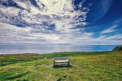 edge of the world (-liyen-) Tags: bench stmarysecologicalreserve newfoundland canada atlanticocean sea easterncanada view expansive clouds sky sunny summer seat beauty naturefujixt1