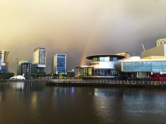 The Lowry Rainbow. (Snipsnapper) Tags: lowry theatre rainbow sky darkclouds moody iphone