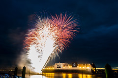 ACL Container Ship with fireworks! (grahamkinnear) Tags: acl container ship pier head liverpool uk shipping port nikon d3100
