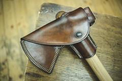 the axe holster (silkfatblues) Tags: leathercraft holster sheets leather handmade custommade silkfatbluesleathercraft silkfatblues lionholsters vegetannedleather fullgrain axe