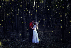 Night Magic (misa.stahlova) Tags: 365 365project conceptual fineart surreal surrealism dreamy fireflies portrait forest woods night couple love passion cute magic blue light manipulation photoshop people outdoor creative youtube