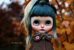 Too late (pure_embers) Tags: pure embers blythe doll dolls custom photography uk england girl pureembers tiina soda emberssoda lip ring piercing cape yellow leaves golden portrait