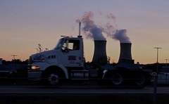 (elisecavicchi) Tags: fuel smoke pollution smokestacks truck transport motion alignment moment pennsylvania pa road highway light evening dusk sundown nightfall truckbed september autumn