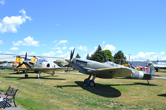 Supermarine Spitfire and Hawker Hurricane (jc nadeau) Tags: rcaf museum aircraft canada canadian air force trenton ontario airport cfb helicopter