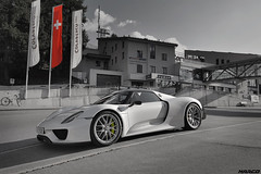Supercar at the ski station (Iceman_Mark) Tags: porsche 918 white design michael mauer 46litre naturally aspirated v8 hybrid supercar hypercar michelin pilot sport cup2 september autumn silvaplana surlej corvatsch engadin graubünden switzerland alps