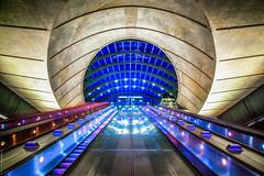 Canary Wharf, tube station. (Rob Escott - (E-form Photography)) Tags: longexposure canarywharf subwaystation wideangle movement london londonunderground eformphotography tokina1116mmf28dxii nikond7200 10stopfilter cities citylife escalator
