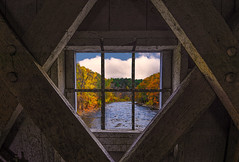 Fall Is A Window to My Heart (wowography.com) Tags: 2016 connecticut fall nikond610 october tomreese westcornwallcoveredbridge wowographycom bridge 5320102 clouds sky colors window 1635mm rustic retro wood