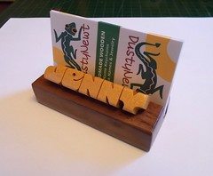 Desk Name / Business Card Holder (DustyNewt Scott) Tags: desk wood wooden woodworking name nameplate secretary teacher handmade custom madetoorder dustynewt accessory receptionist salesman card holder businesscardholder pauamarello yellowheart yellow walnut