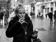 Electronic (Leanne Boulton) Tags: people monochrome depthoffield urban street candid portrait portraiture streetphotography candidstreetphotography candidportrait streetportrait eyecontact candideyecontact streetlife elderly woman female face facial expression look emotion feeling hand gesture eyes gaunt smoke smoker smoking ecigarette vape vaper vapour electroniccigarette tone texture detail bokeh grain natural outdoor light shade shadow city scene human life living humanity society culture canon 5d 5dmkiii 70mm character ef2470mmf28liiusm black white blackwhite bw mono blackandwhite glasgow scotland uk