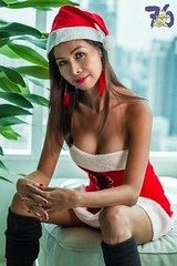 Mrs Claus II-1 (Chindit76) Tags: santaclaus mrsclaus christmas xmas holiday pretty filipina asian sexy sexysanta thailand dress hat brunette festive model woman girl beautiful pinay highrise bangkok kneelength boots watermarked
