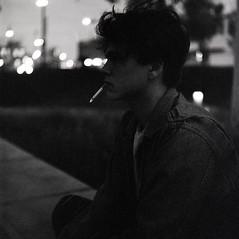Smoke (HaydenKlein) Tags: film ilford push grain 3200 delta 12500 portrait night smoke mediumformat medium format 120 120film bokeh bw blur male