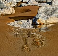 Silver  sings (pauldunn52) Tags: rock pool reflection stones wet sand water ripples traeth mawr glamorgan heritage coast wales