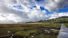 IMG_6685-86_pan (Robi Fav) Tags: ocean sky costa green clouds landscape lago scotland highlands nuvole north atlantic highland loch spiaggia paesaggio fortwilliam oceano scozia locheil castlestalker lochlinnhe litorale allaperto bagnasciuga lochlaich