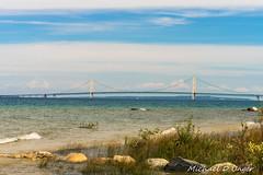 Mackinac Bridge east side (scorpio71gr) Tags: water landscape outdoors coast seaside unitedstates pentax outdoor michigan greatlakes vehicles mackinacbridge k3 petosky mackinawcity da50135