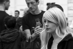 Smoker (Olderhvit) Tags: street blackandwhite girl photography gothenburg streetphotography smoker goteborg img0690 gatufoto gatufotografi framingthestreet olderhvit